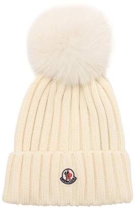 Moncler Wool Knit Beanie Hat W/ Fox Pompom