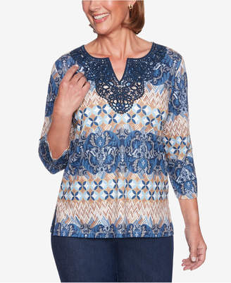 Alfred Dunner Petite News Flash Printed Biadere Lace-Neck Top
