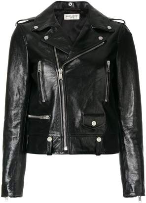 Saint Laurent polished classic motorcycle jacket