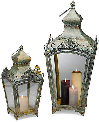One Kings Lane Asst. of 2 Parlin Lanterns - Weathered Green