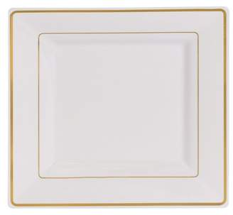 """Kaya Collection - Disposable White with Gold Rim Plastic Square 9.5"""" Dinner Plates - 2 Pack (20 Plates)"""