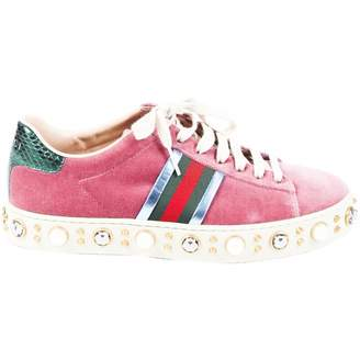 Gucci Pink Velvet Trainers