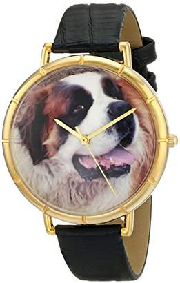 Whimsical Watches Women's N0130070 Saint Bernard Black Leather And Goldtone Photo Watch