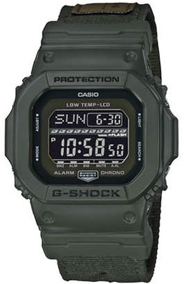 Casio Digital G Lide Cloth Green Stainless Steel Strap Watch