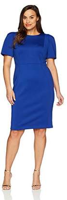 Calvin Klein Women's Plus Size Short Sleeved Sheath with Princess Seams Dress