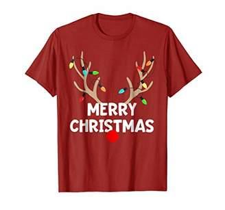Christmas Pajama T-Shirt Reindeer Lights Matching Group Set