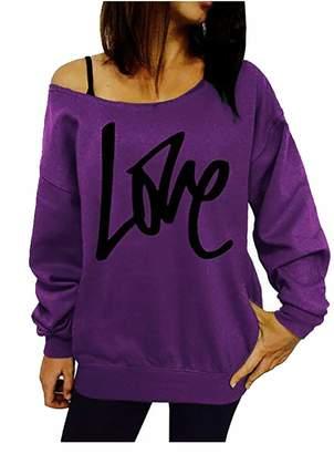 3cabe55d2d5 Pandapang Womens Plus Size Top Pullover T-Shirt Print Long Sleeve Letter  Sweatshirts XL
