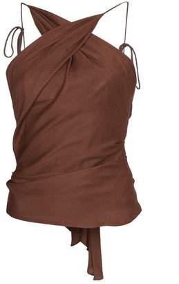 Halter neck top with tie back