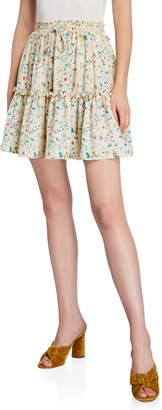 Haute Rogue Floral Ruffle Skater Mini Skirt