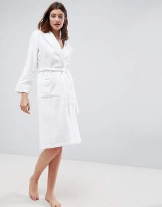 Asos Design Premium Self Stripe Towelling Hooded Bath Robe