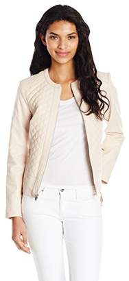 Cole Haan Women's Jewel Neck Quilted Leather Jacket