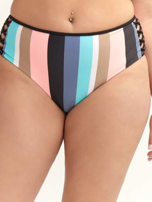 Body Glove, Striped Retro - High Waist Swim Brief