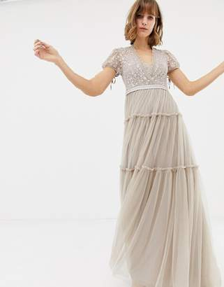 Needle & Thread embroidered tulle maxi dress with cap sleeve in rose