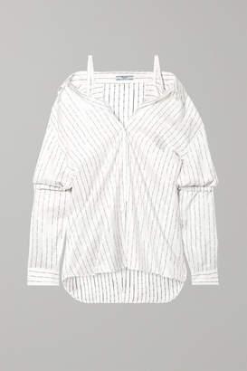 Prada Cold-shoulder Printed Silk-satin Shirt - Ivory