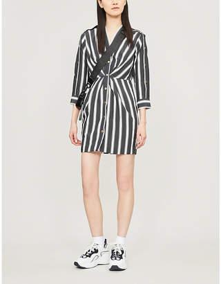 Sandro Striped button-trim crepe dress