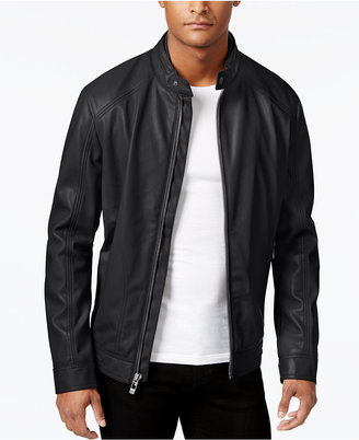 Calvin Klein Men's Faux-Leather Moto Jacket $225 thestylecure.com