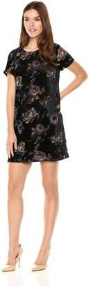 Vero Moda Women's Fiona Short Sleeve Crushed Velvet Floral Dress