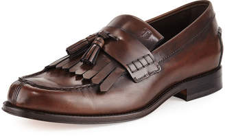 Tod's Kiltie Leather Tassel Loafer, Brown