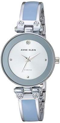 Anne Klein Women's AK/1981LBSV Diamond-Accented Silver-Tone and Light Blue Bangle Watch