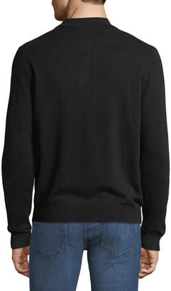 Neiman Marcus Men's Cashmere Suede-Piped Polo Sweater