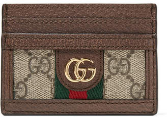 Gucci Ophidia Textured Leather-trimmed Printed Coated-canvas Cardholder - Neutral