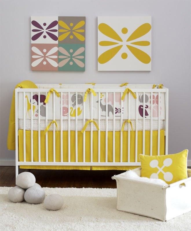 DwellStudio Baby Crib Bedding - Gio in lemon
