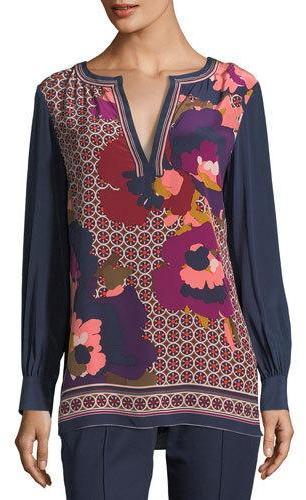 Trina Turk Engineered Mixed-Print Long-Sleeve Silk Tunic