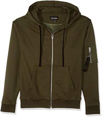 The Kooples Men's Fleece Sweatshirt with Militaty Pocket On Sleeve