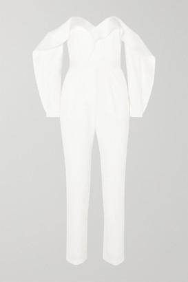 Self-Portrait Off-the-shoulder Ruffled Satin Jumpsuit - Ivory
