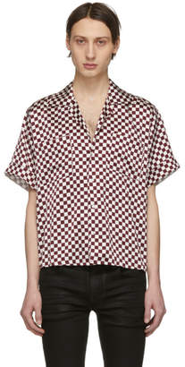 Enfants Riches Deprimes White and Burgundy Check Silk Button Down Shirt