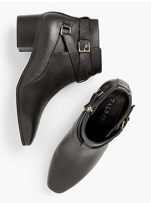 Talbots Dakota Block Heel Ankle Boots - Pebble Leather