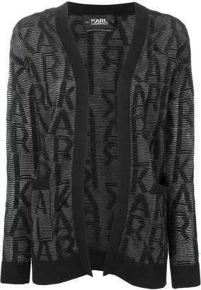 Karl Lagerfeld fitted logo cardigan