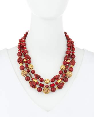 Jose & Maria Barrera 3-Strand Cloisonne Cinnabar Glass Necklace