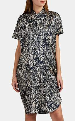 Zero Maria Cornejo Women's Sadie Hair-Print Stretch-Silk Shirtdress - Ink Jet, greige