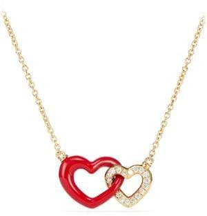 David Yurman Double Heart Pendant Necklace With Diamonds, Red Enamel& 18K Gold