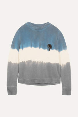 The Elder Statesman Embroidered Tie-dyed Cashmere Sweater - Blue