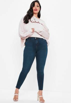 Missguided Plus Size Blue High Waist Superstretch Jeans