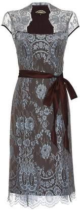 M·A·C Nancy Mac Lace Dress With Forties Neckline In In Winter Blue
