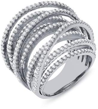 Lafonn Platinum Plated Sterling Silver Simulated Diamond Crossing Band