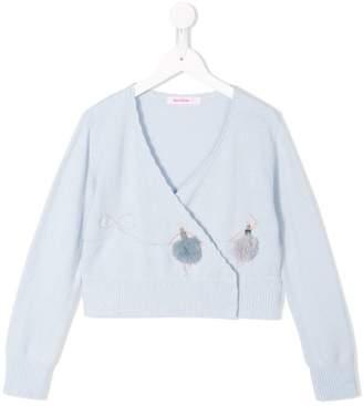 Familiar scallop trim wrap sweater