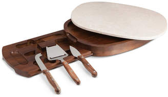 Picnic Time Heritage Collection by Fabio Viviani Acacia Wood Marble Top Cheese Board with Tools