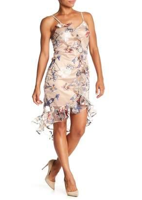 ABS by Allen Schwartz Collection V-Neck Embroidered Mesh Dress