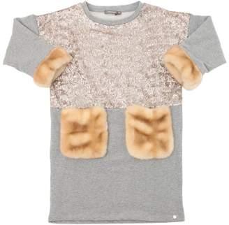 Sequined Cotton Dress W/Faux Fur Details