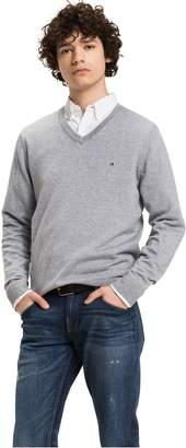 Tommy Hilfiger Combed Cotton V-Neck Sweater
