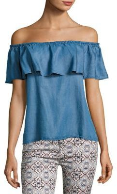 7 For All Mankind Ruffled Chambray Blouse $139 thestylecure.com
