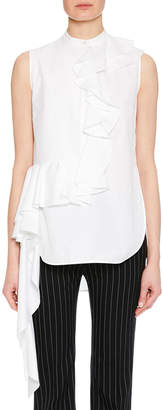 Alexander McQueen Sleeveless Ruffle-Front Side-Drape Cotton Blouse