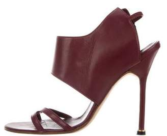 Manolo Blahnik Leather Crossover-Accented Sandals