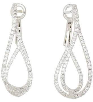 Frederic Sage 18K White Gold Diamond Crossover Loop Earrings