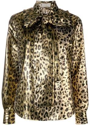 Sara Battaglia leopard bow blouse