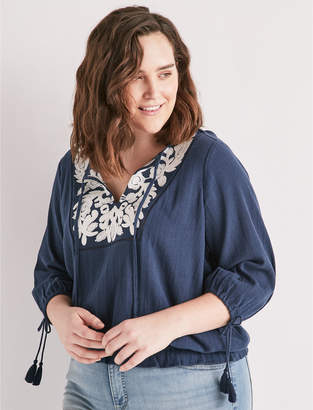 Lucky Brand EMBROIDERED TASSEL TOP